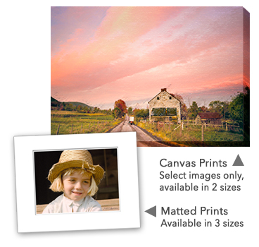 preview of matted and canvas images